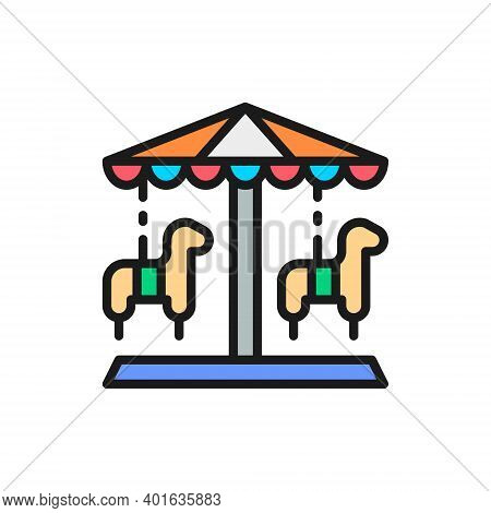 Traditional Merry-go-round, Roundabout Carousel, Amusement Park Color Line Icon.