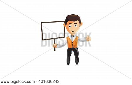 Character Job Cloth Chef Waiter Clothes Hold Black Whiteboard