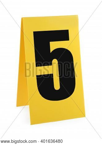 Yellow Crime Scene Marker With Number Five On White Background