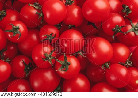 Many Fresh Cherry Tomatoes As Background, Closeup