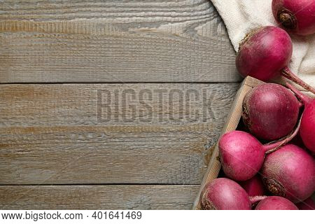Red Turnips On Wooden Table, Flat Lay. Space For Text