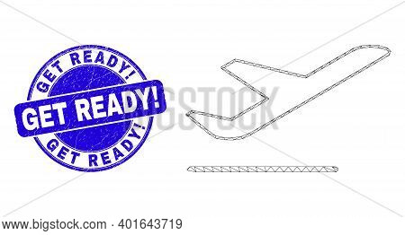 Web Mesh Airplane Departure Pictogram And Get Ready Exclamation Stamp. Blue Vector Round Distress Se