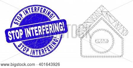 Web Mesh Forbidden House Pictogram And Stop Interfering Exclamation Seal. Blue Vector Round Grunge S