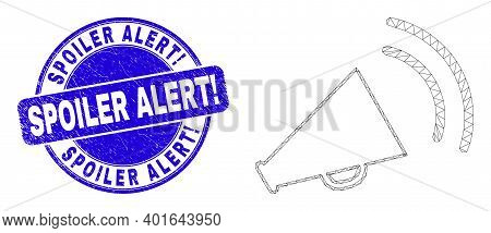 Web Mesh Megaphone Sound Icon And Spoiler Alert Exclamation Stamp. Blue Vector Rounded Distress Seal