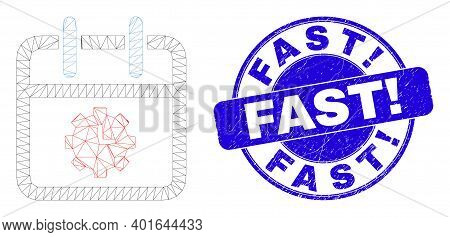 Web Mesh Calendar Time Options Pictogram And Fast Exclamation Seal Stamp. Blue Vector Rounded Scratc