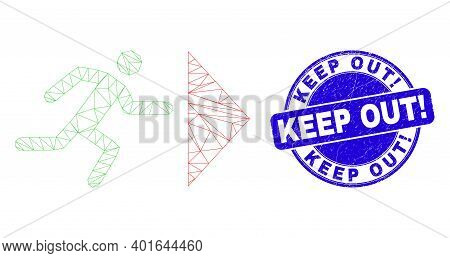 Web Mesh Exit Person Icon And Keep Out Exclamation Watermark. Blue Vector Rounded Textured Watermark