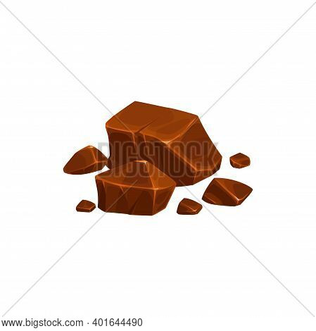 Chocolate Pieces, Lumps And Broken Blocks, Candy Vector Isolated Icon. Bitter Dark Or Milk Chocolate