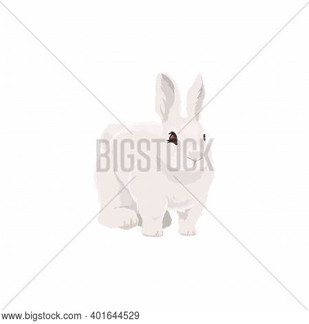 Rabbit Bunny Farm Animal Icon, Vector Cattle Farming And Meat Food Product Symbol. Cartoon Isolated