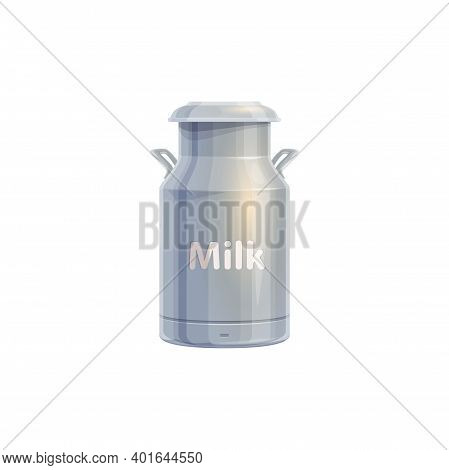 Milk Can, Dairy Farm Agriculture Food And Cow Product, Vector Icon. Milk Can Container Or Metal Jar