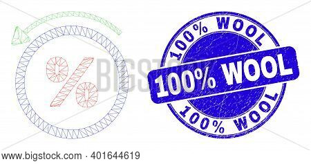 Web Mesh Percent Back Icon And 100 Percents Wool Stamp. Blue Vector Rounded Grunge Stamp With 100 Pe