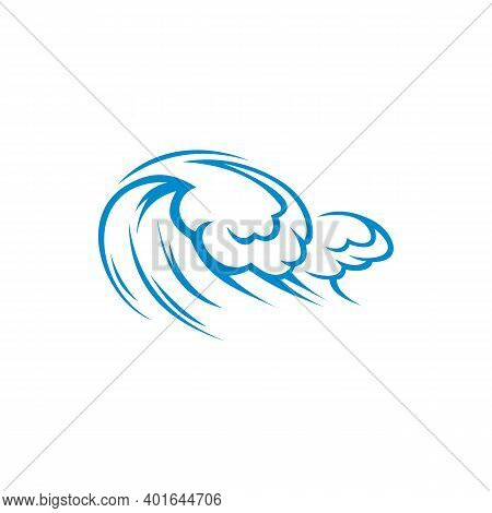 Hurricane On Sea Or Ocean, Storming Waves Isolated Blue Water Splashes. Vector Windstorm, Tempest Ga