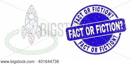 Web Mesh Rocket Start Icon And Fact Or Fiction Question Seal. Blue Vector Rounded Grunge Watermark W