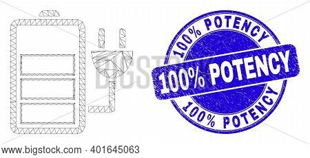 Web Carcass Charge Battery Icon And 100 Percents Potency Seal Stamp. Blue Vector Rounded Distress St