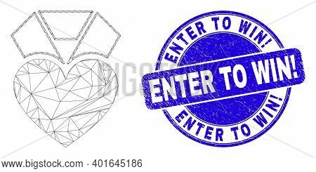Web Mesh Heart Award Icon And Enter To Win Exclamation Seal. Blue Vector Round Grunge Seal Stamp Wit