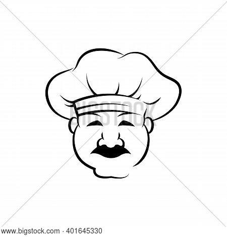 Smiling Chef Outline Vector Illustration. Italian Baker In Chef Cap Ink Pen Sketch. Confectioner, Go