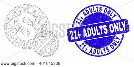 Web Carcass Priceless Pictogram And 21 Plus Adults Only Seal Stamp. Blue Vector Rounded Grunge Seal