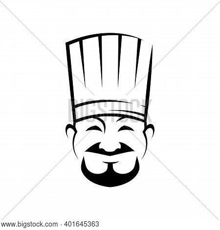 Cheerful Chef Line Art Vector Illustration. Happy Cooker In Chef Hat Ink Pen Sketch. Confectioner, B