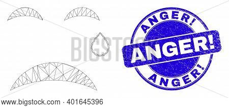 Web Carcass Tear Smiley Pictogram And Anger Exclamation Watermark. Blue Vector Rounded Grunge Waterm