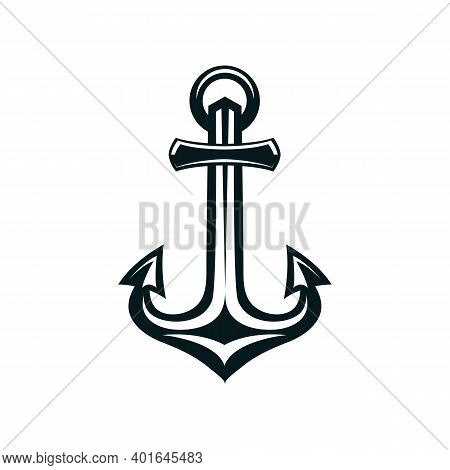 Marine Anchor Silhouette Vector Illustration. Navy, Ocean Fleet, Harbor Hand Drawn Monocolor Symbol.