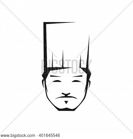 Kazakh Chef Outline Vector Illustration. Asian Professional Cook With Hat Isolated Contour Design El