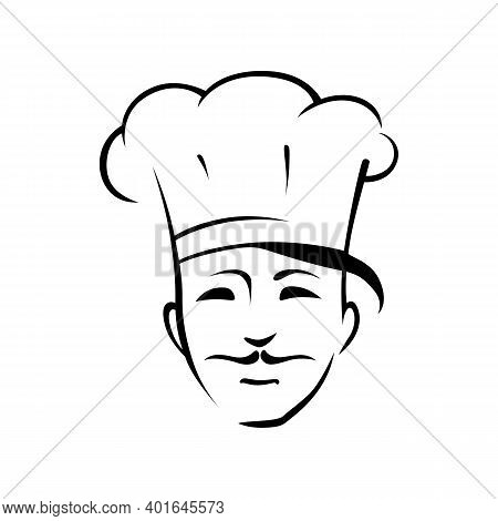 Mexican Chef Outline Vector Illustration. Professional Cook With Thin Mustache Isolated Character On