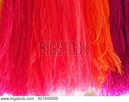 Yarn, Garn Several Colors Arranged Abstract Gradient For Background, Colorful Pink Orange Red Blue P