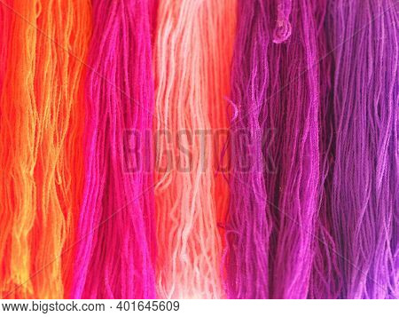 Yarn, Several Colors Arranged Abstract Gradient For Background, Garn Colorful Pink Orange Red Purple