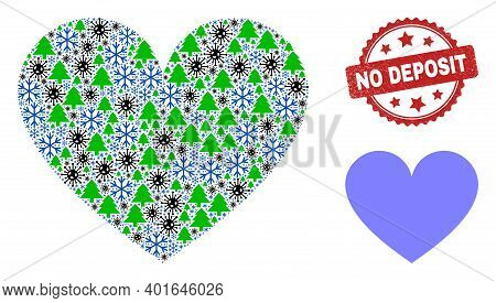 Winter Covid Combination Love Heart, And Scratched No Deposit Red Rosette Stamp Imitation. Collage L