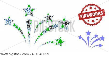 Winter Covid Mosaic Fireworks, And Rubber Fireworks Red Rosette Seal. Mosaic Fireworks Is Made From