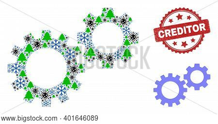 Winter Coronavirus Composition Gearwheels, And Unclean Creditor Red Rosette Seal. Collage Gearwheels