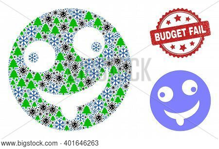 Winter Covid-2019 Combination Idiot Smiley, And Budget Fail Red Rosette Seal. Mosaic Idiot Smiley Is