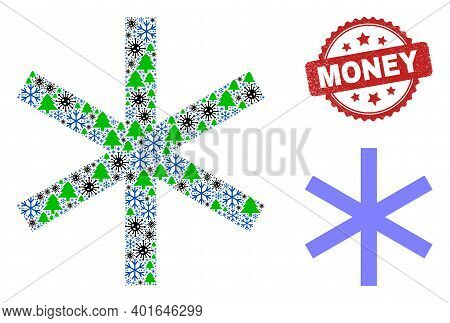Winter Pandemic Collage Primitive Snowflake, And Dirty Money Red Rosette Stamp Seal. Collage Primiti