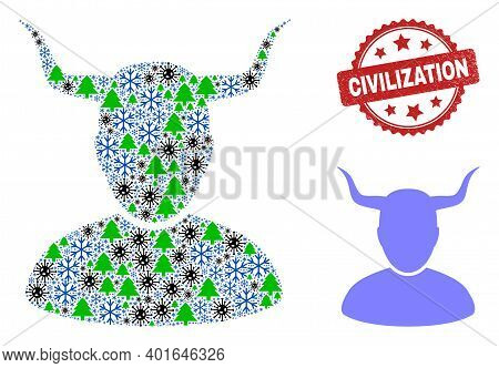 Winter Pandemic Collage Horned User, And Textured Civilization Red Rosette Seal. Collage Horned User