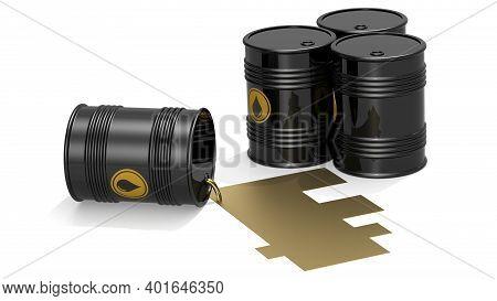Black Crude Oil Barrels With Golden Franc Sign, 3d Rendering