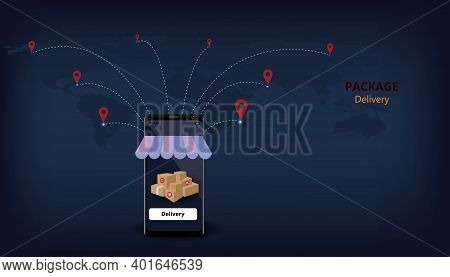 Package Delivery Design Concept.fast Respond Delivery Package Shipping Global.online Order ,3d Illus