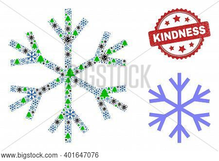 Winter Coronavirus Combination Snowflake, And Dirty Kindness Red Rosette Stamp. Collage Snowflake Is