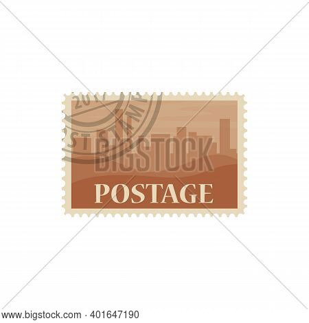 Postage Mark With City Silhouette, Postmark Vector Isolated Icon. Post Stamp With Buildings