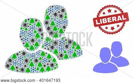 Winter Coronavirus Collage Users, And Dirty Liberal Red Rosette Seal. Collage Users Is Created Of Vi