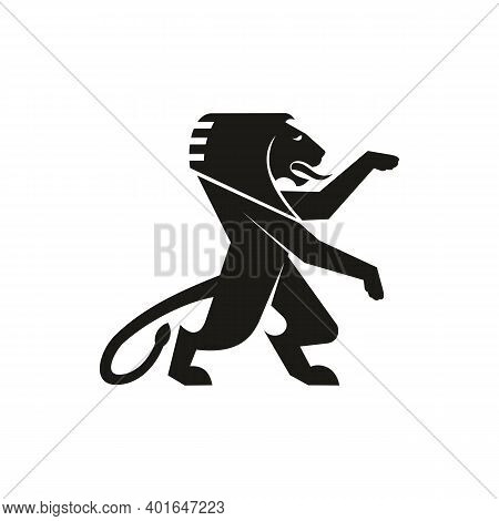 Mythical Creature, Isolated Heraldry Black Korean Dragon With Four Toes. Vector Lion Heraldic Mascot