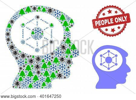 Winter Pandemic Collage Human Memory, And People Only Red Rosette Stamp Print. Collage Human Memory