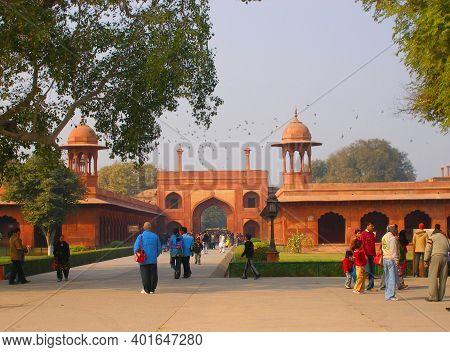 Agra, India - 27 January 2008 :  Gate Entrance To Taj Mahal.