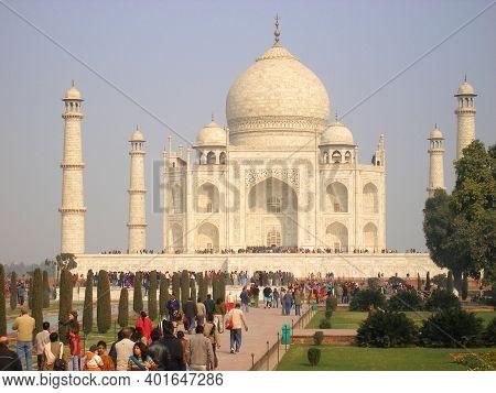 Agra, India - 27 January 2008 - Tourist Attraction Taj Mahal