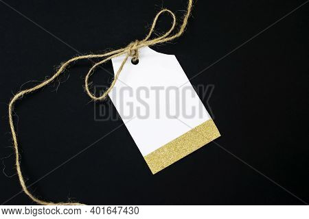 Tag Sale With A Bow Made Of Rope On A Black Background. Can Be Used As A Price Tag Gift Tag Sale Tag