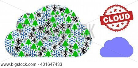 Winter Viral Mosaic Cloud, And Grunge Cloud Red Rosette Stamp Print. Mosaic Cloud Is Made With Viral