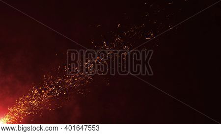 Beautiful Realistic Burning Fire Embers With Smoke In Dark Background With Nice Glowing Light Effect