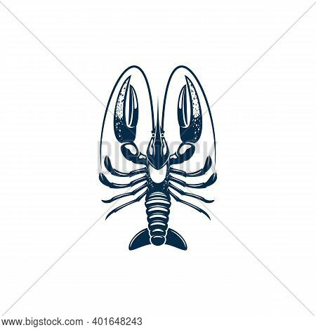 Lobster Seafood Animal Isolated Crustacean With Big Claws. Vector Large Marine Crayfish With Claws