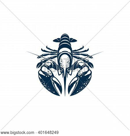 Crustacean With Big Claws Isolated Lobster Crayfish. Vector Atlantic Invertebrate, Omar Animal