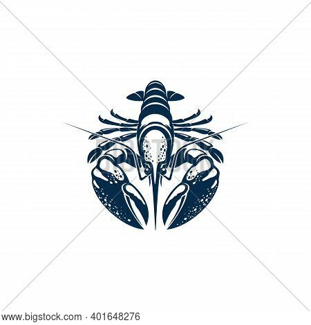 Clawed Lobster Isolated Reef Lobster Marine Animal. Vector Underwater Homarus Gammarus, Seafood