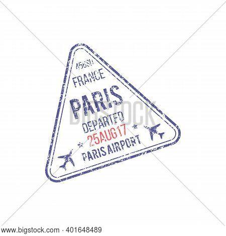 Paris Airport Grunge Visa Stamp Isolated Departed Sign. Vector France Destination Border Control Mar