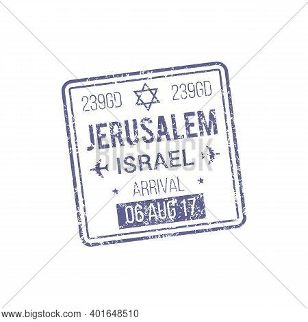 Jerusalem Visa Template Isolated Israel Control Stamp. Vector Document Admitted To Pass Border